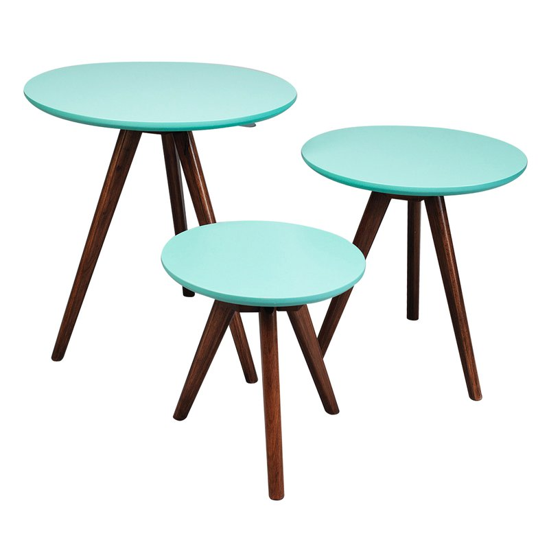 lot de 3 tables gigognes en noyer plateau turquoise maison et styles. Black Bedroom Furniture Sets. Home Design Ideas