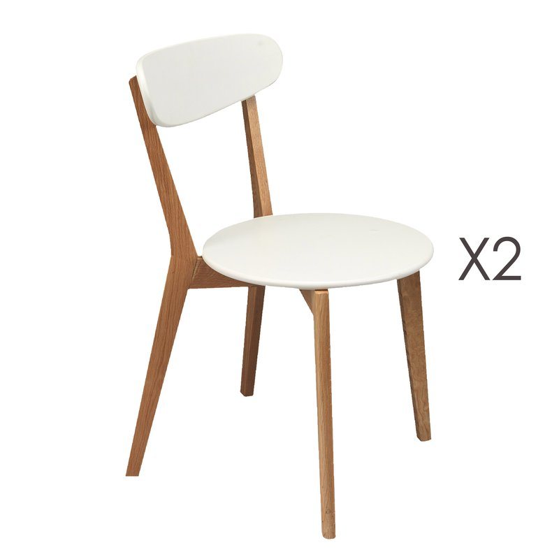 lot de 2 chaises pieds bois assise blanche coloris h tre maison et styles. Black Bedroom Furniture Sets. Home Design Ideas