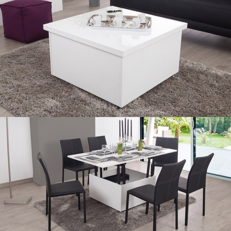 giani table basse relevable gian blanc maison et styles. Black Bedroom Furniture Sets. Home Design Ideas