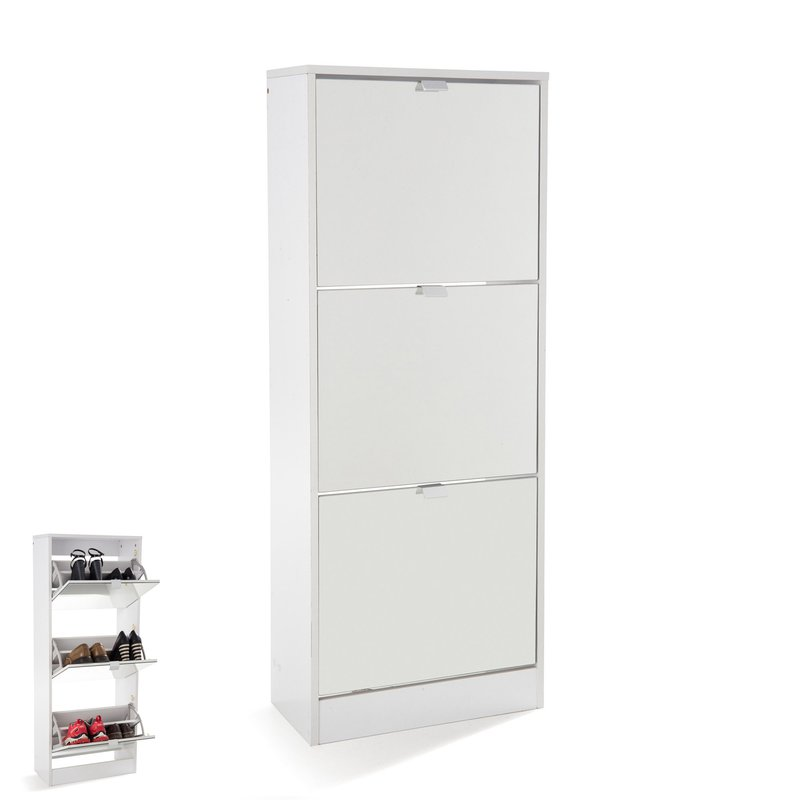meuble chaussures rack 3 portes abattantes blanc maison et styles. Black Bedroom Furniture Sets. Home Design Ideas