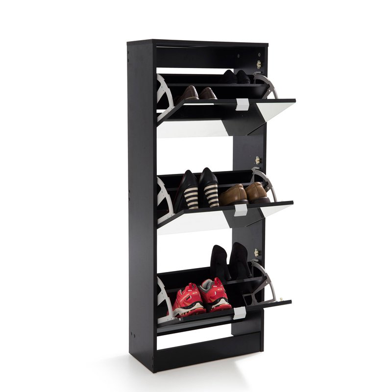 meuble chaussures rack 3 portes abattantes noir maison et styles. Black Bedroom Furniture Sets. Home Design Ideas