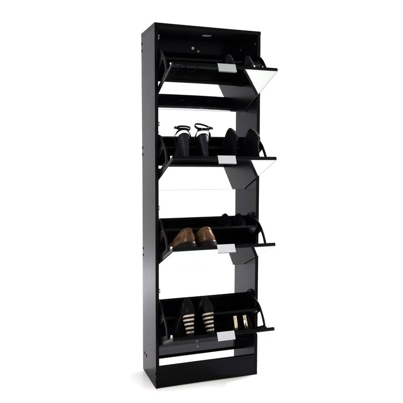 meuble chaussures rack 4 portes abattantes noir maison et styles. Black Bedroom Furniture Sets. Home Design Ideas