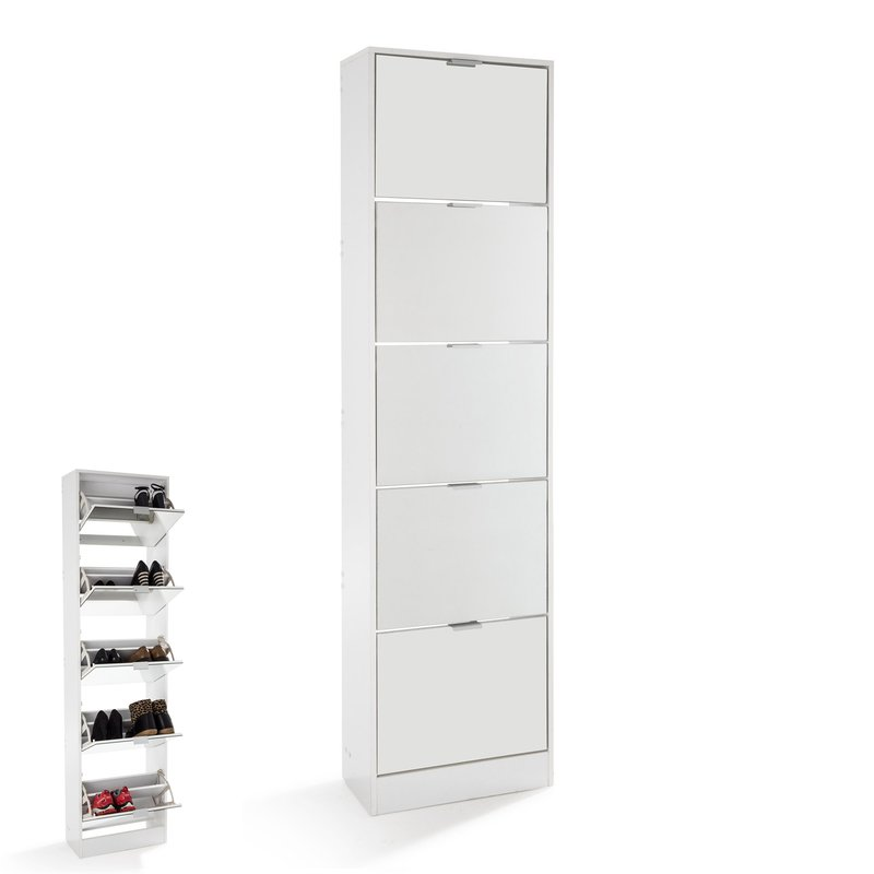 meuble chaussures rack 5 portes abattantes blanc maison et styles. Black Bedroom Furniture Sets. Home Design Ideas