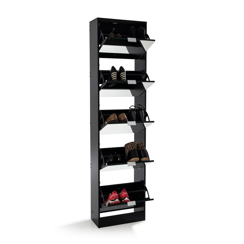 meuble chaussures rack 5 portes abattantes noir maison et styles. Black Bedroom Furniture Sets. Home Design Ideas