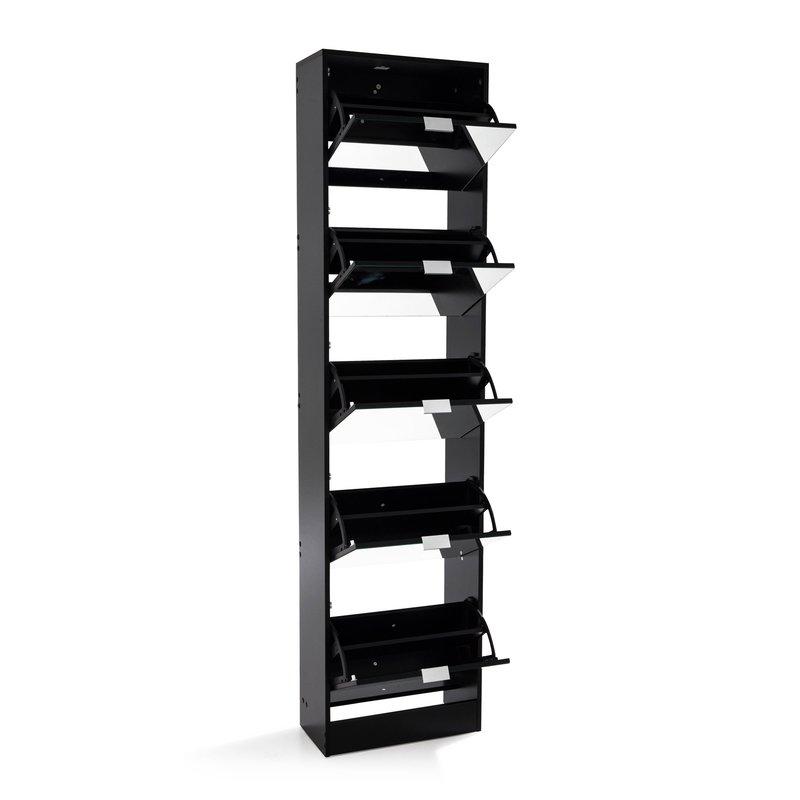 meuble chaussures rack 5 portes abattantes noir maison et styles. Black Bedroom Furniture Sets. Home Design Ideas