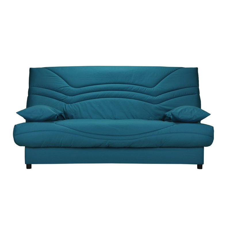 banquette lit clic clac 130cm 26kg motif bleu canard. Black Bedroom Furniture Sets. Home Design Ideas