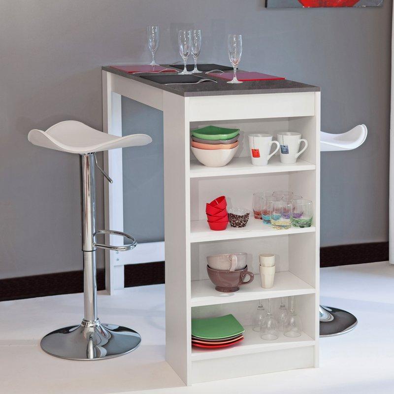 Table de bar avec rangements pi tement blanc plateau effet b ton maison et - Meuble rangement bar ...