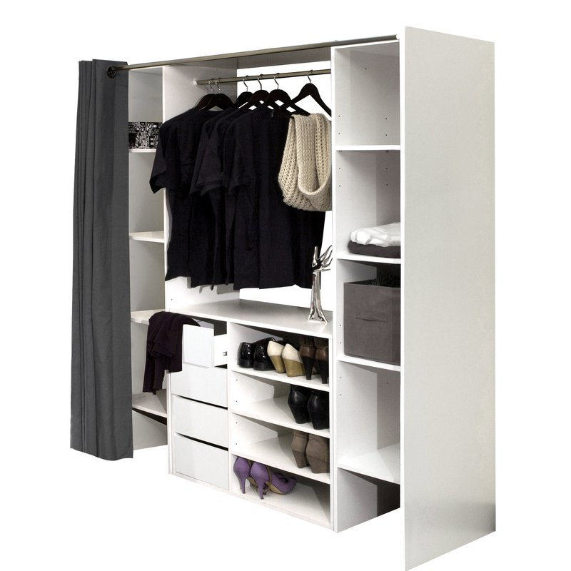 dressing 2 colonnes meuble 4 tiroirs blanc rideau gris maison et styles. Black Bedroom Furniture Sets. Home Design Ideas