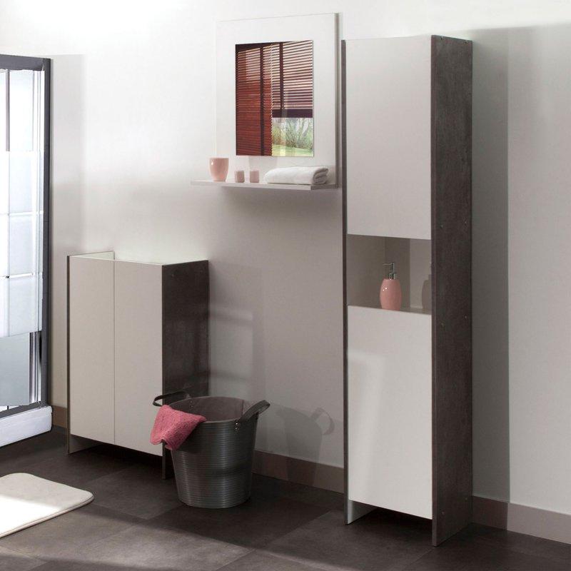 colonne salle de bain 2 portes 1 niche effet b ton fa ades blanches maison et styles. Black Bedroom Furniture Sets. Home Design Ideas