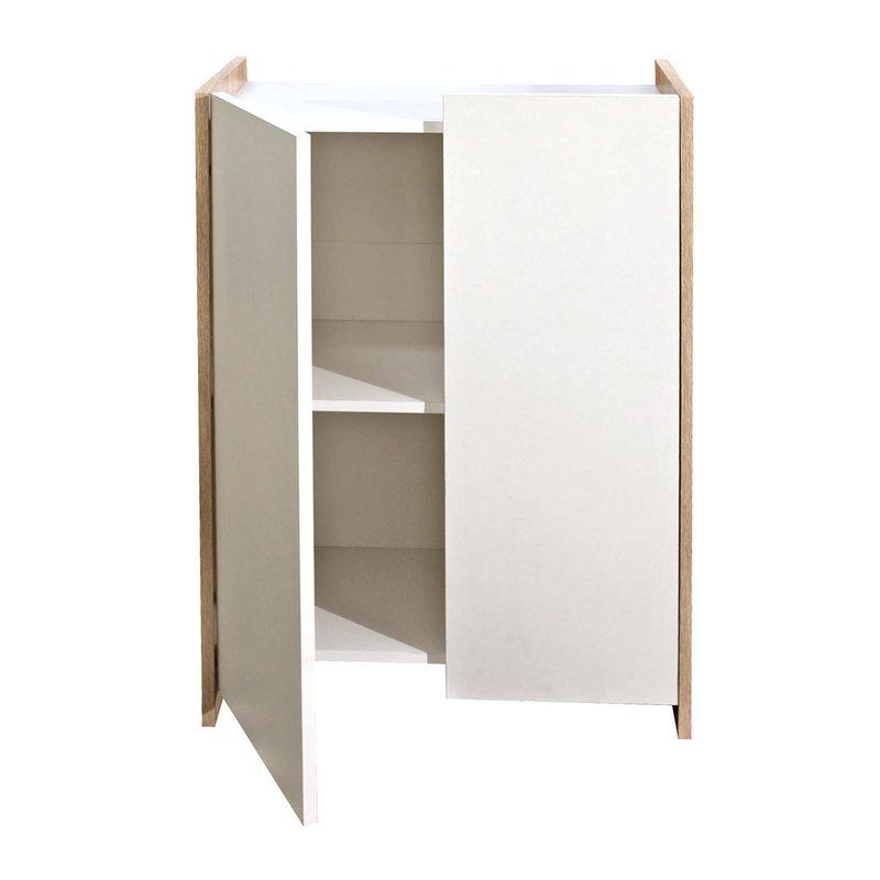 Meuble de salle de bain 2 portes effet ch ne fa ades - Facade meuble salle de bain ...