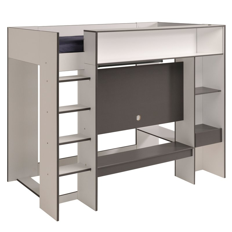 lit mezzanine arobaz 90x200cm avec support tv coloris blanc et gris maison et styles. Black Bedroom Furniture Sets. Home Design Ideas