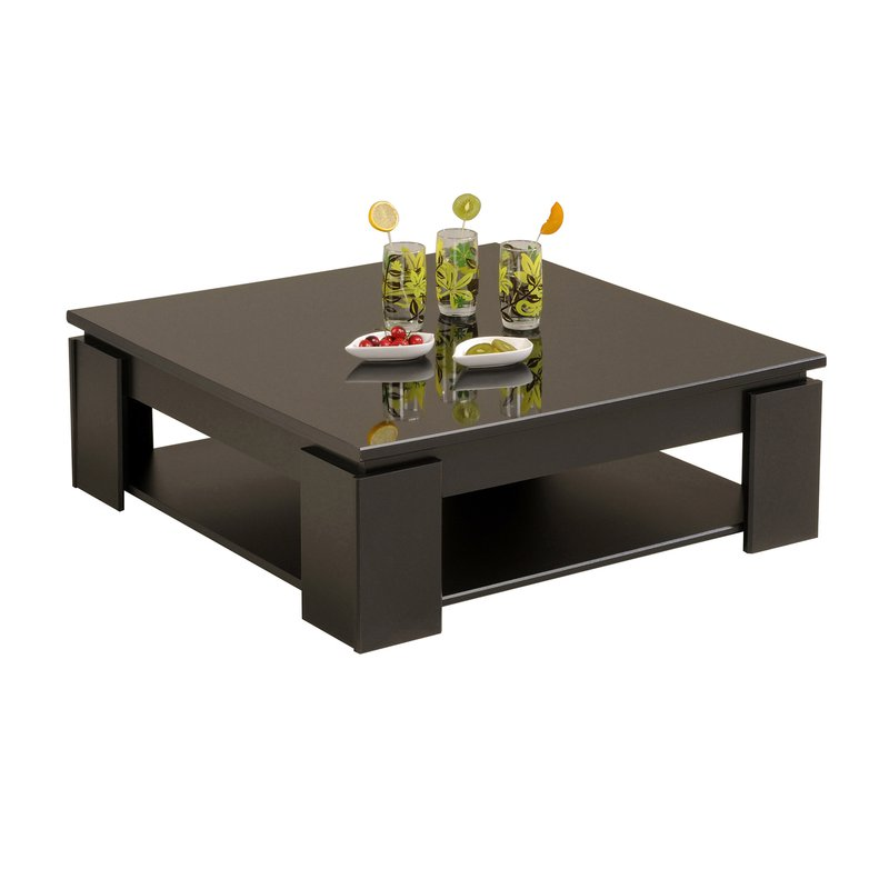 table basse carr e 89x89x31cm coloris noir laqu maison et styles. Black Bedroom Furniture Sets. Home Design Ideas