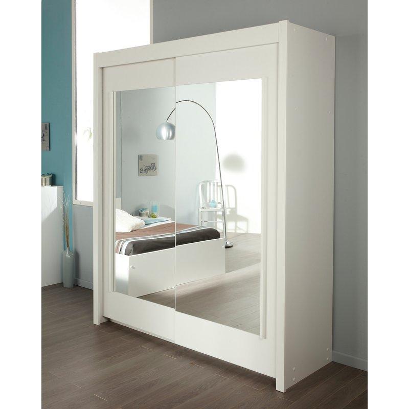 Armoire 2 portes coulissantes avec miroirs 181x61x217cm - Armoire 2 portes coulissantes blanc ...