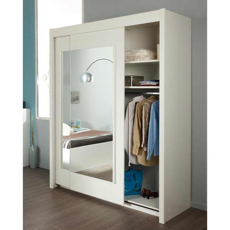 armoire 2 portes coulissantes avec miroirs 181x61x217cm coloris blanc maison et styles. Black Bedroom Furniture Sets. Home Design Ideas