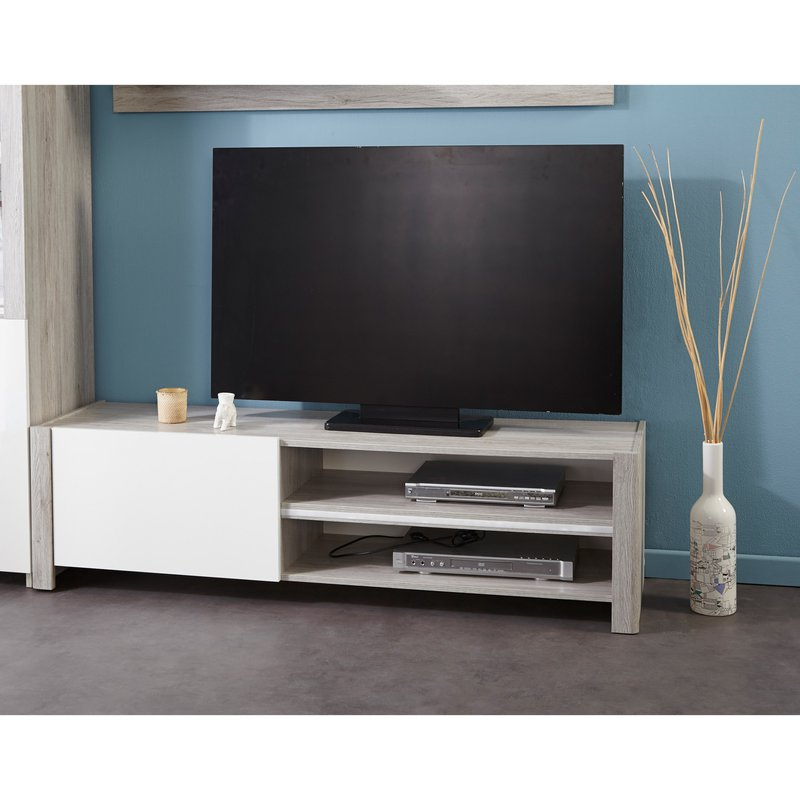 banc tv 1 porte 150x42x40cm ch ne gris et blanc laqu zola maison et styles. Black Bedroom Furniture Sets. Home Design Ideas