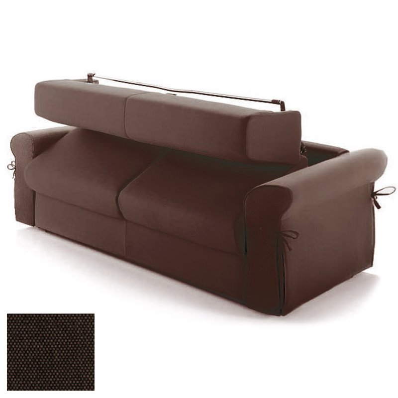 canap convertible 2 places tissu d houssable chocolat maison et styles. Black Bedroom Furniture Sets. Home Design Ideas