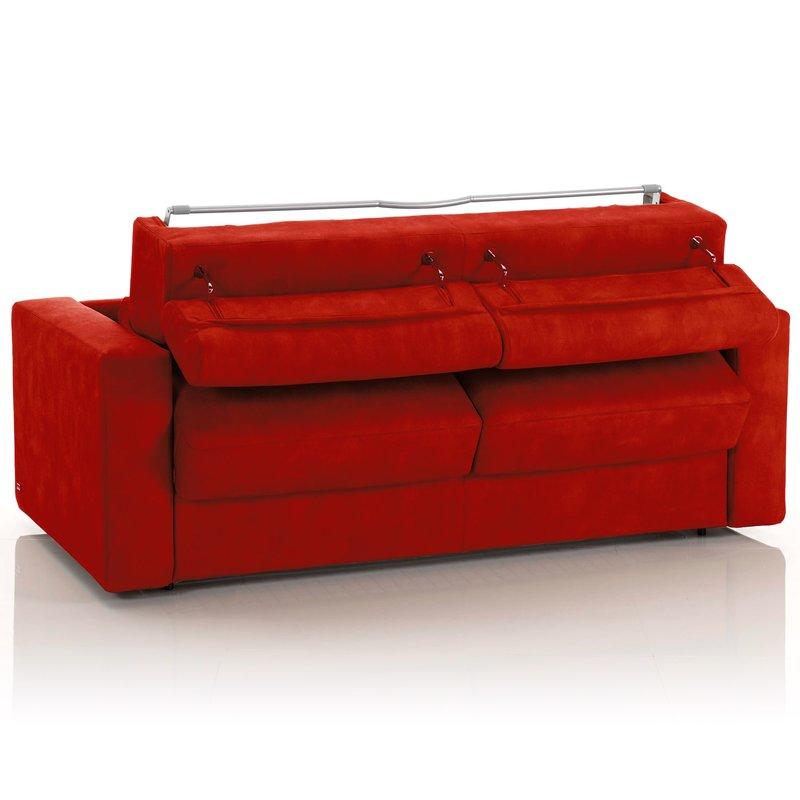 Canap convertible 3 places tissu d houssable rouge maison et styles - Canape dehoussable convertible ...