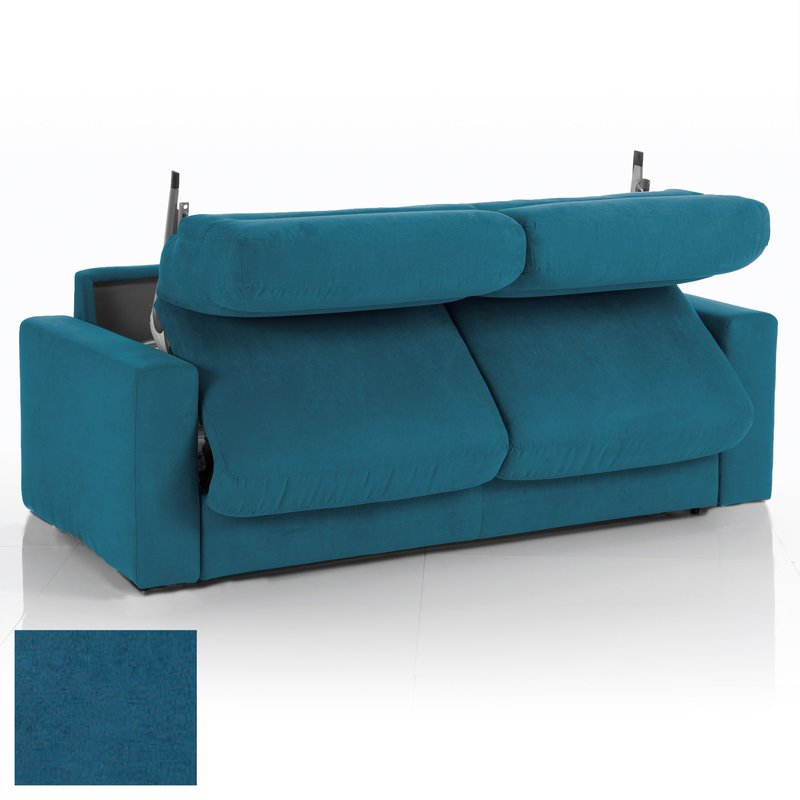 Canap convertible 3 places tissu d houssable bleu for Deco canape bleu canard