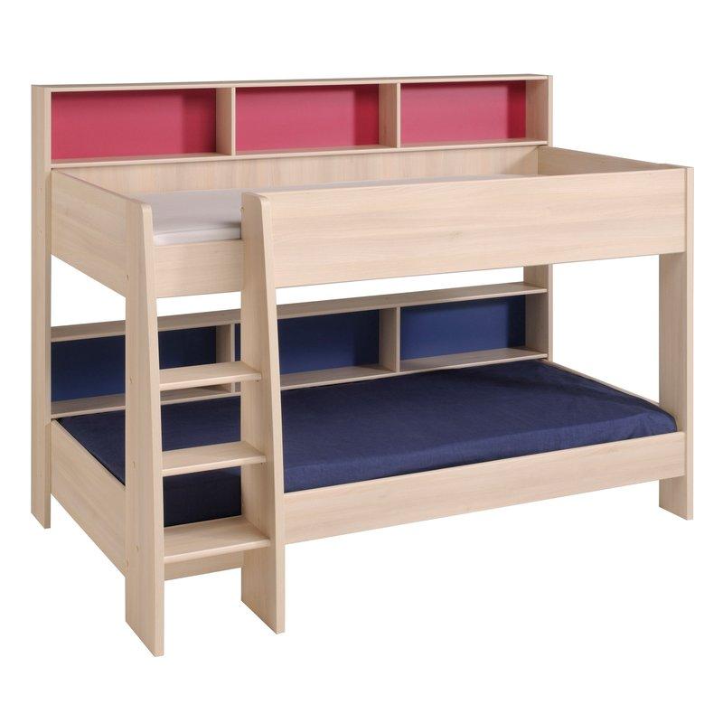 lit superpos 90x200cm coloris acacia et rose ou bleu maison et styles. Black Bedroom Furniture Sets. Home Design Ideas