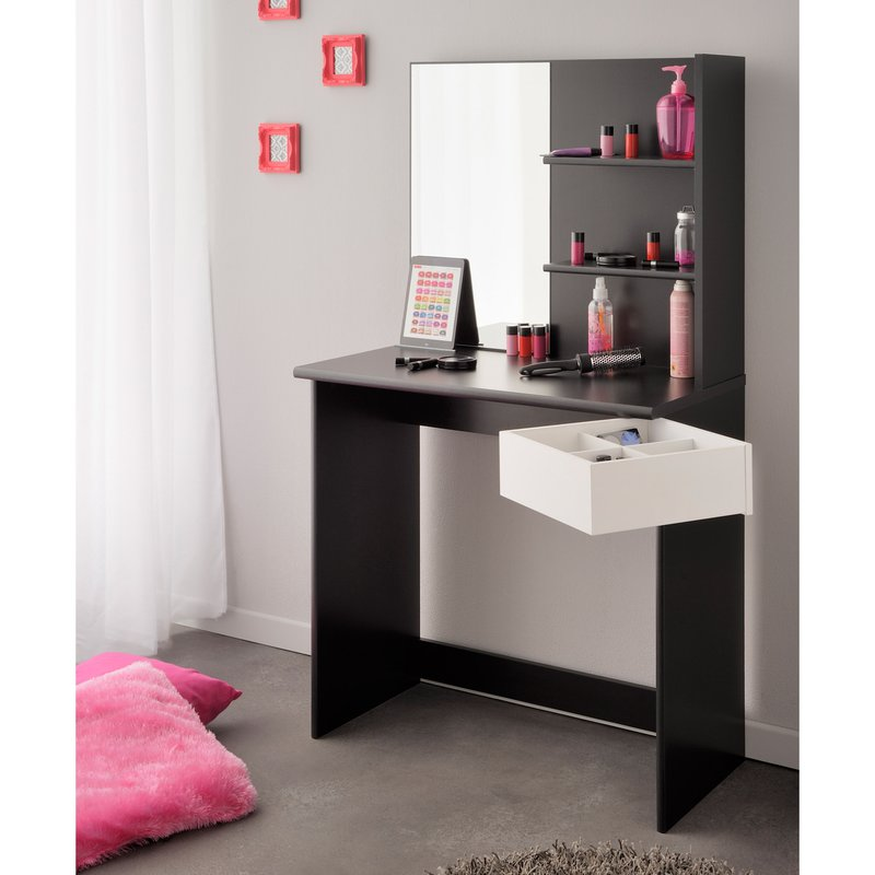 coiffeuse avec miroir coloris noir et blanc maison et styles. Black Bedroom Furniture Sets. Home Design Ideas