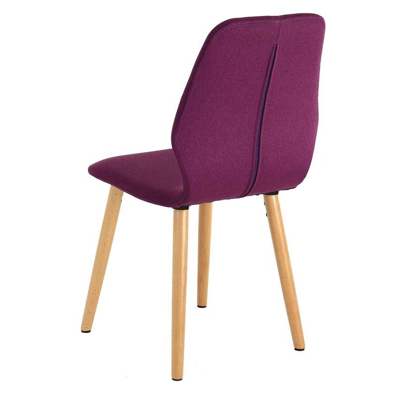 Lot de 2 chaises pieds bois coloris prune castle maison et styles for Chaise 3 pieds