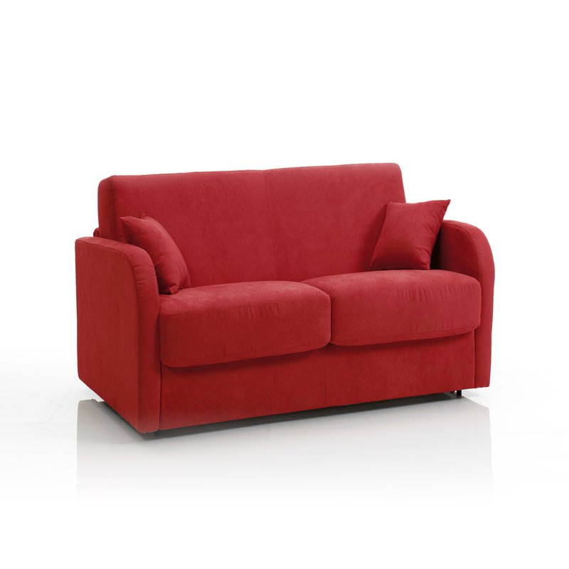 Canap convertible 2 places tissu d houssable rouge for Canape 2 places rouge
