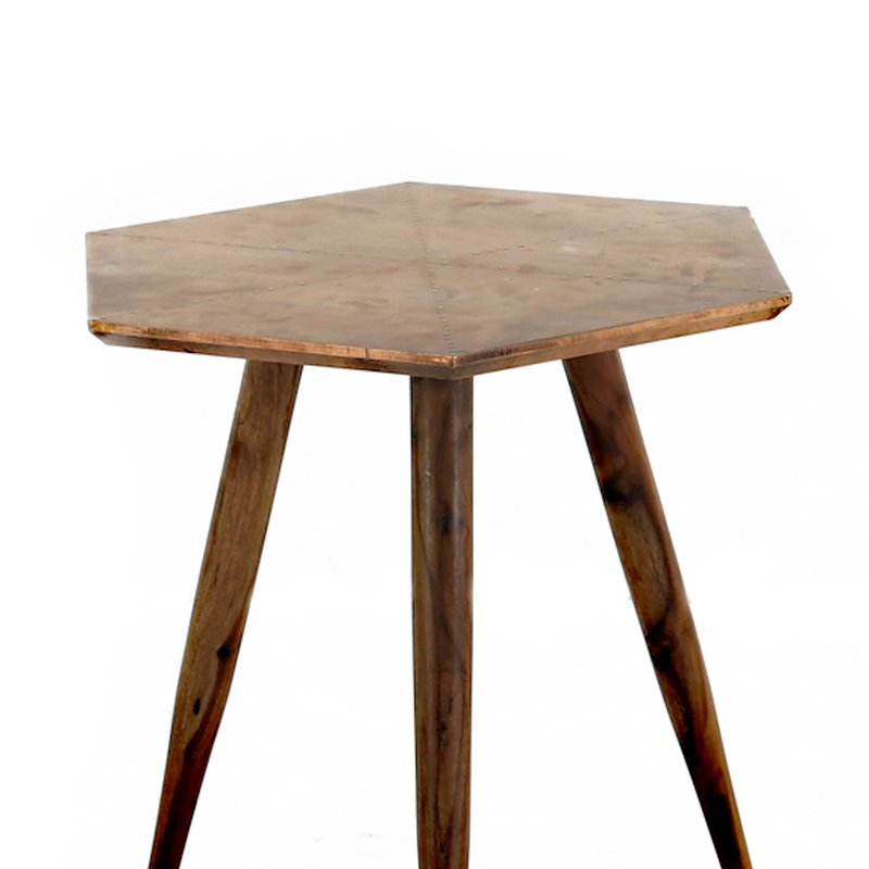 table basse finition cuivre vieilli kriss maison et styles. Black Bedroom Furniture Sets. Home Design Ideas