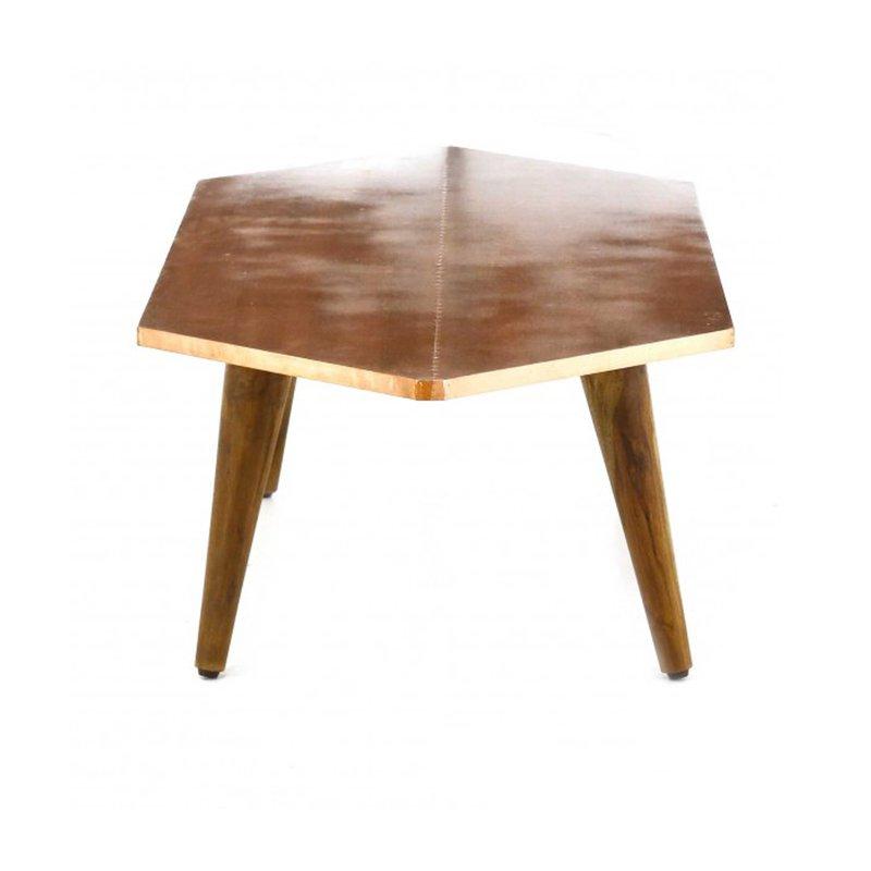 table basse hexagonale finition cuivre vieilli kriss maison et styles. Black Bedroom Furniture Sets. Home Design Ideas