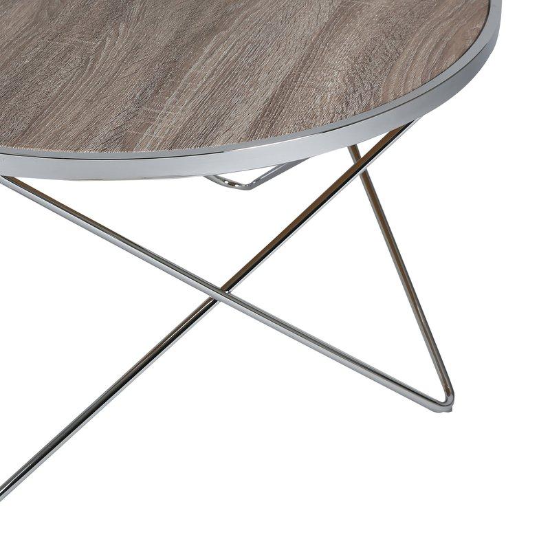 table basse ronde en acier plateau bois scott maison et. Black Bedroom Furniture Sets. Home Design Ideas