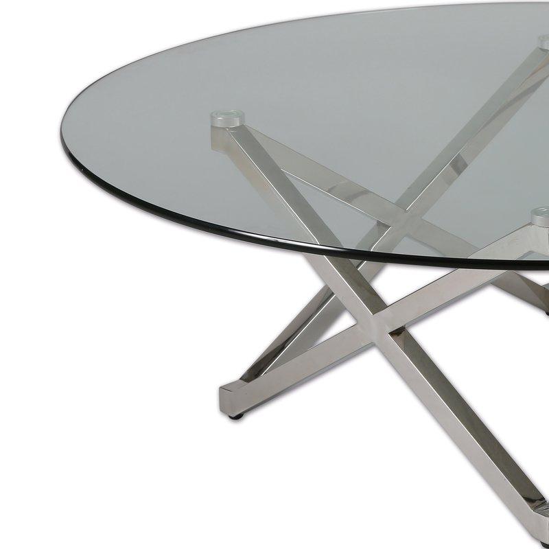 table basse pied toile en acier et verre tremp glass maison et styles. Black Bedroom Furniture Sets. Home Design Ideas