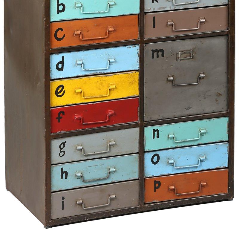 meuble de rangement 16 tiroirs en acier multicouleurs atelier metal maison et styles. Black Bedroom Furniture Sets. Home Design Ideas
