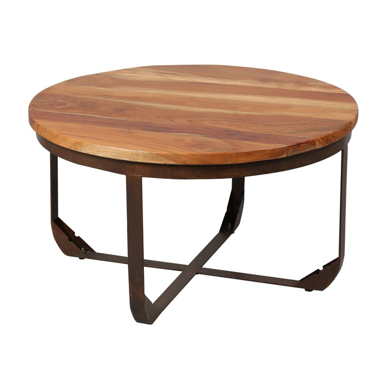 Table ronde structure m tal plateau bois maison et styles for Table ronde bois metal
