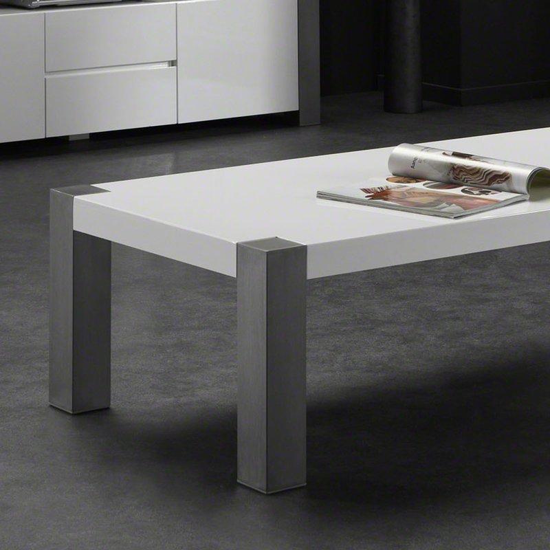 table basse laqu 135x65cm blanc et pieds inox maison et. Black Bedroom Furniture Sets. Home Design Ideas