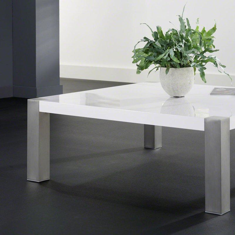 Table Carree Blanche: Table Basse Carrée Laqué 110x110cm Blanc Et Inox