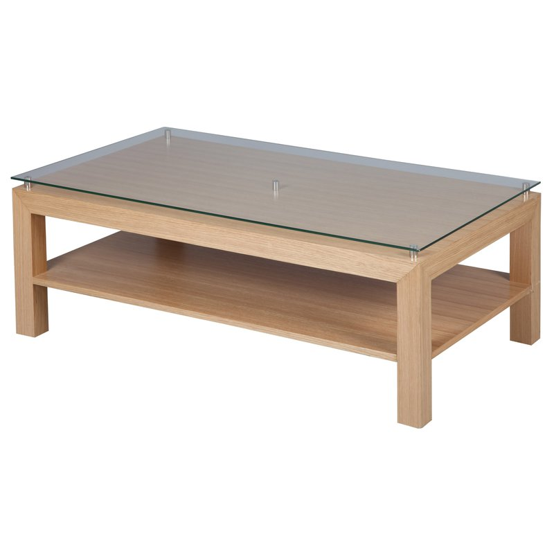 Table basse en ch ne massif avec plateau en verre tremp for Table basse en verre trempe