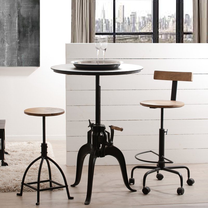 table ronde industrielle t glable en hauteur ulysse maison et styles. Black Bedroom Furniture Sets. Home Design Ideas