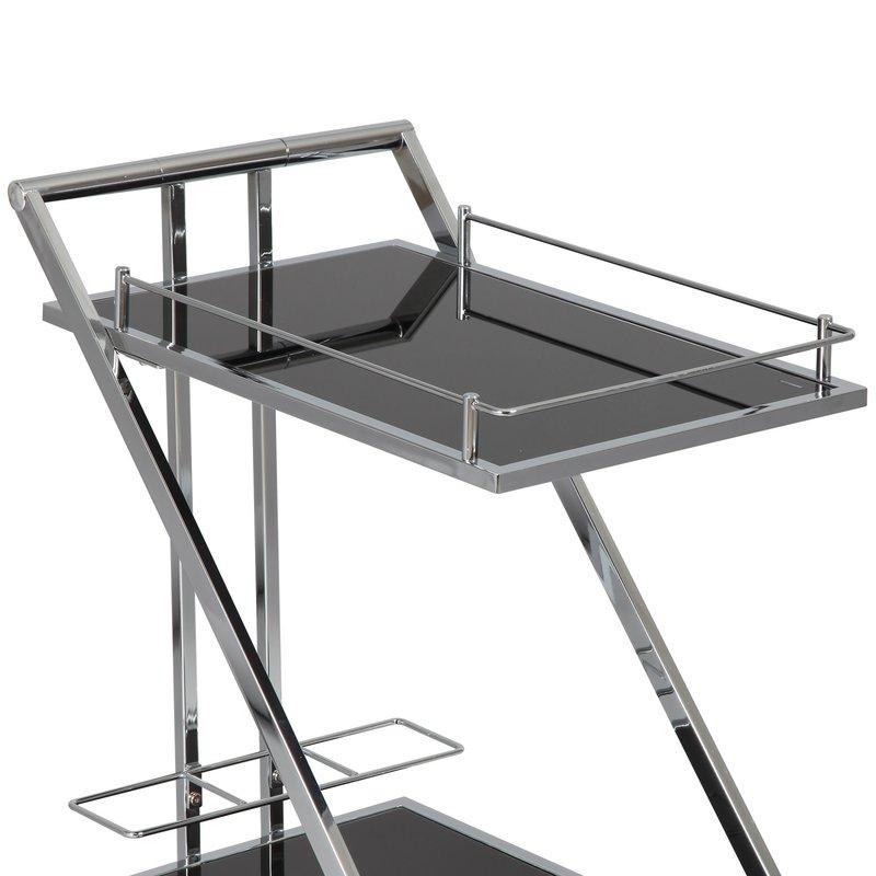 desserte roulettes en acier et verre tremp coloris noir. Black Bedroom Furniture Sets. Home Design Ideas