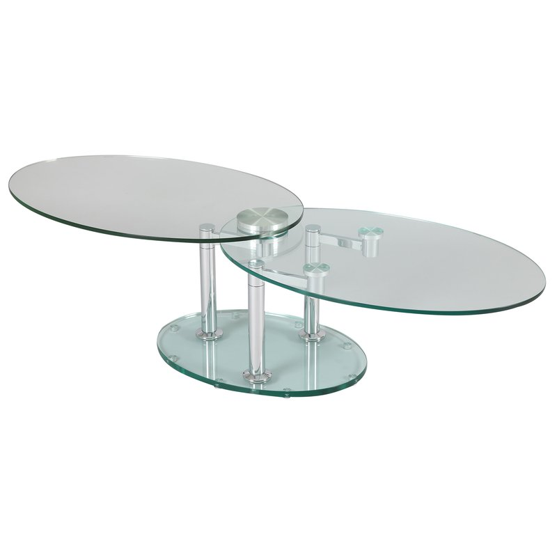 table basse 2 plateaux ovales en verre tremp transparent glass maison et styles. Black Bedroom Furniture Sets. Home Design Ideas