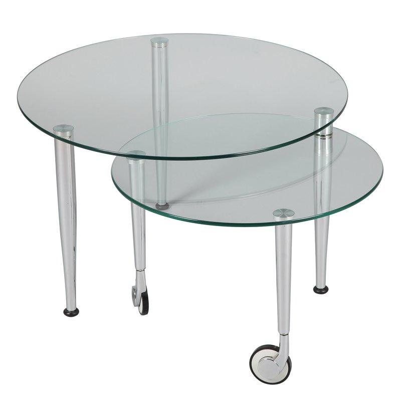 Table basse sur roulettes modulable en verre glass for Position verre sur table