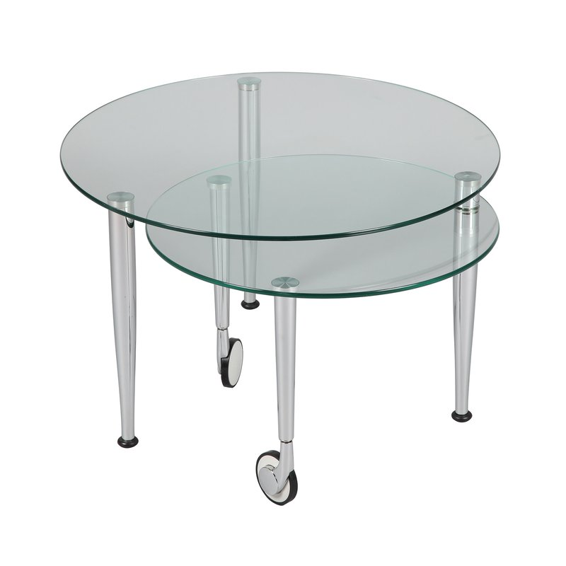 table basse sur roulettes modulable en verre glass maison et styles. Black Bedroom Furniture Sets. Home Design Ideas