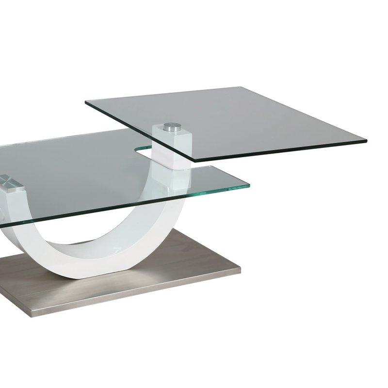 table basse rectangulaire socle en acier et plateau en verre tremp maison et styles. Black Bedroom Furniture Sets. Home Design Ideas