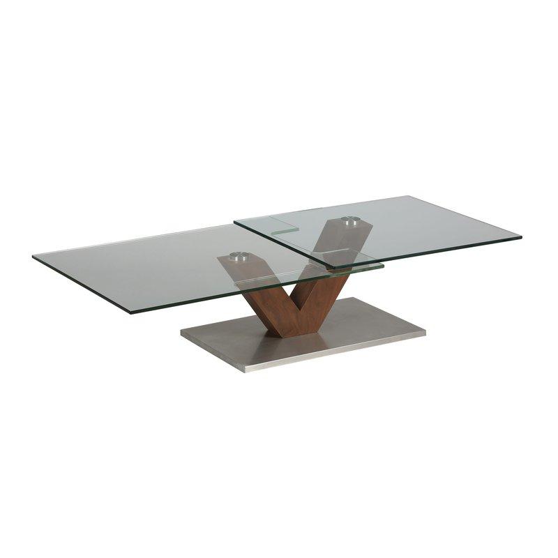 Table Basse Rectangulaire Socle En Acier Et Double Plateau En Verre Tremp Maison Et Styles