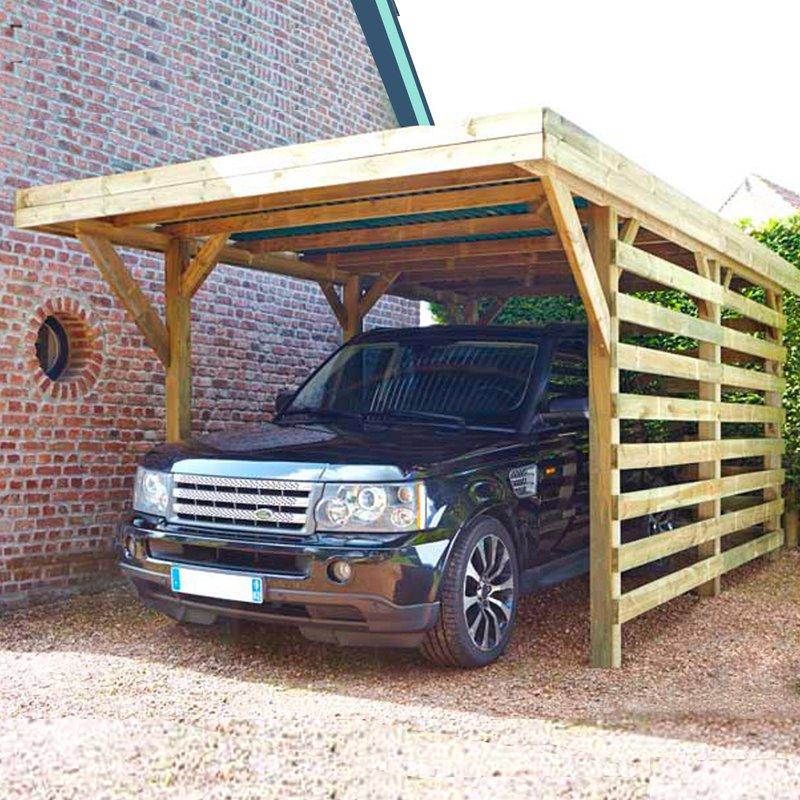 Carport autoportant en bois trait autoclave avec 2 cot s for Garage bois traite autoclave