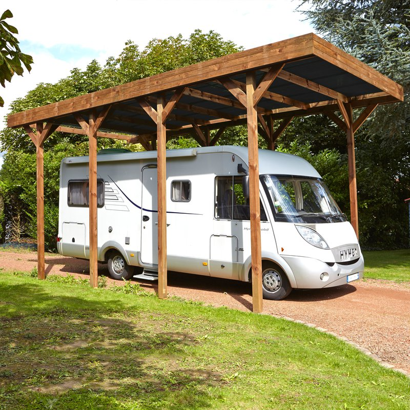 carport autoportant en bois trait autoclave pour camping car 4x8m maison et styles. Black Bedroom Furniture Sets. Home Design Ideas