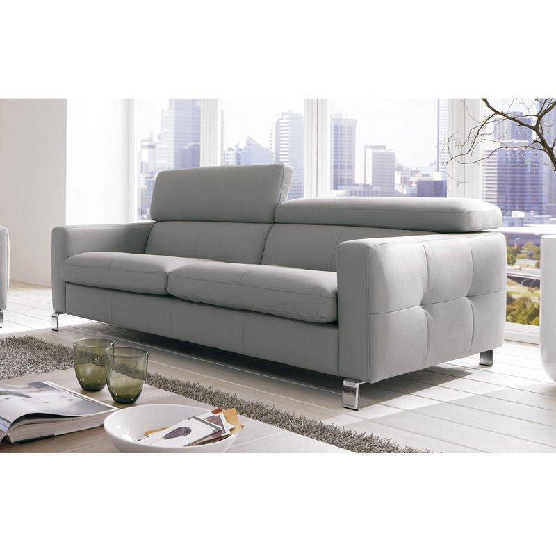 canap 3 places avec t ti res r glables pieds m tal coloris gris maison et styles. Black Bedroom Furniture Sets. Home Design Ideas
