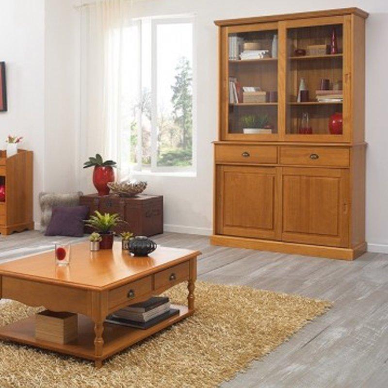 Biblioth que vaisselier pin massif portes coulissantes maison et styles - Bibliotheque porte coulissante ...