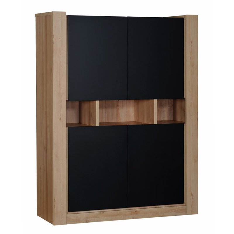 meuble de rangement 4 portes l130xh170xp45cm noir. Black Bedroom Furniture Sets. Home Design Ideas