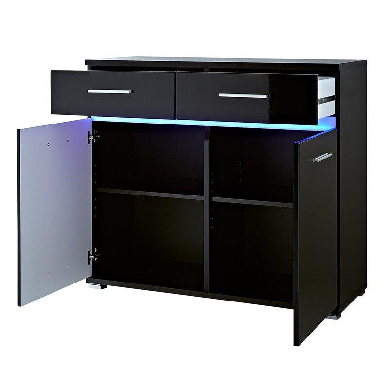 Commode 96x86x40cm noir maison et styles for Commode noir