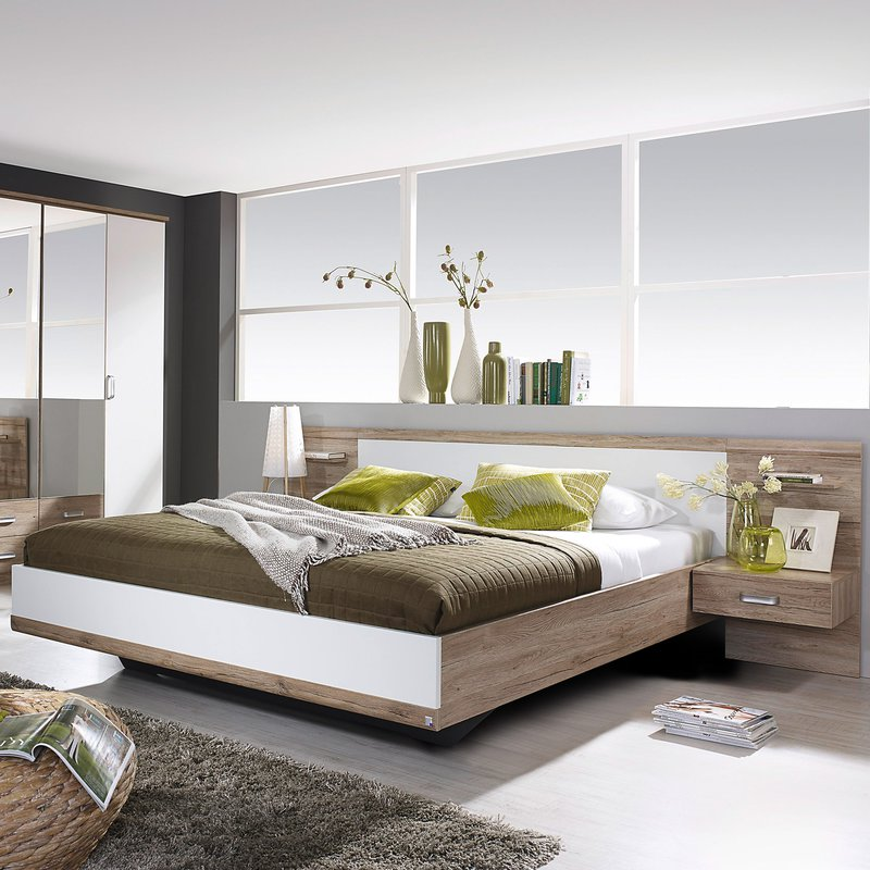 lit en 160x200cm avec 2 chevets t te de lit maison et. Black Bedroom Furniture Sets. Home Design Ideas