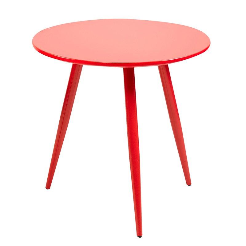 Lot de 2 tables basses en m tal et mdf rouge maison et for Table zanotta tweed